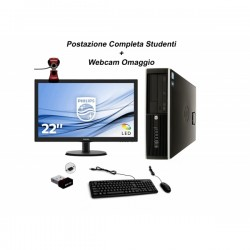 "Postazione completa Studente - PC HP i5 + Monitor 20"" + Kit tastiera mouse + chiavetta Wifi + Webcam"
